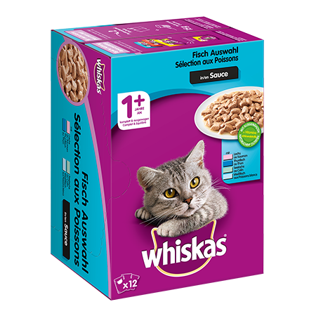 WHISKAS® Portionsbeutel Multipack 1+ Fischauswahl in Sauce 12 x 100g