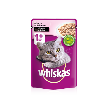WHISKAS® Portionsbeutel Adult 1+ mit Lachs in Sauce 100g